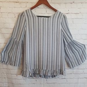 Olivaceous Blue And White Striped Bell Sleeves Top